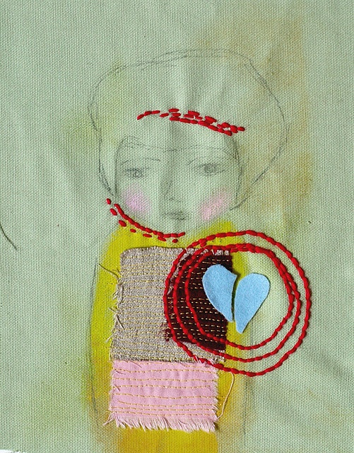 Broken Heart - Original Textile Art