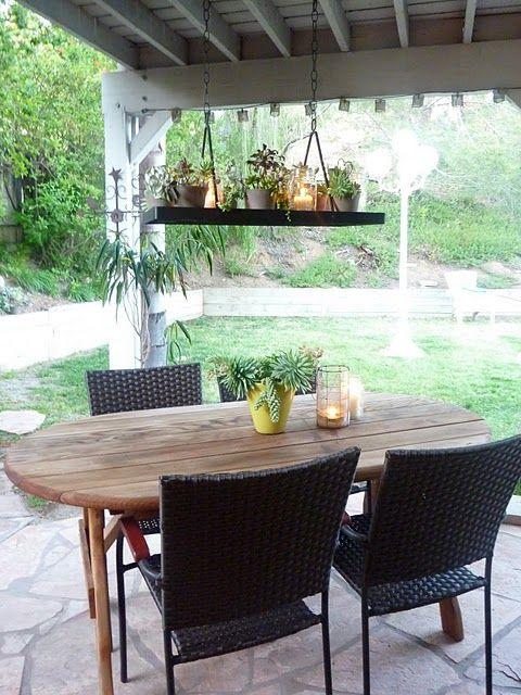 recycled candelier: Pots Racks, Ideas, Pot Racks, Hanging Plants, Outdoor Gardens, Hanging Planters, Mason Jars, Outdoor Lights, Diy Projects