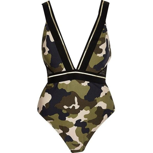 River Island Green camo print plunge swimsuit ($37) ❤ liked on Polyvore featuring swimwear, one-piece swimsuits, plunge swimsuit, swimsuit swimwear, plunge neck swimsuit, camo one piece swimsuit and camouflage bathing suits