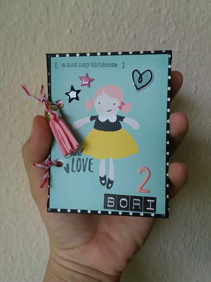 Minialbum for my girl 2. birthday. Cute girl paper set.