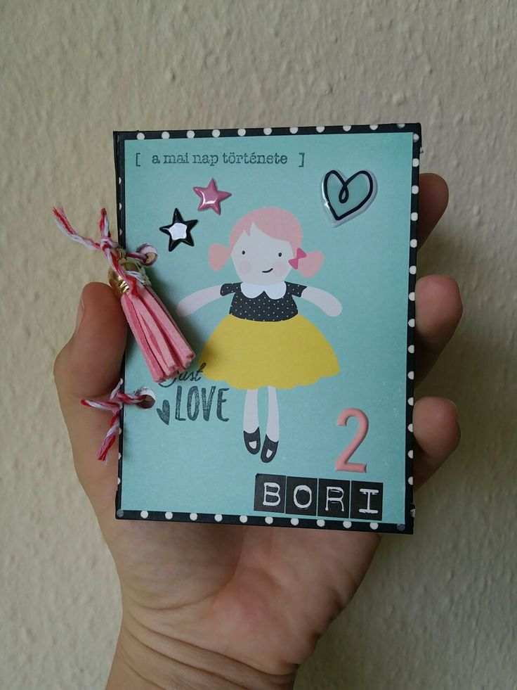 Minialbum for my girl 2. birthday. Cute girl paper set.