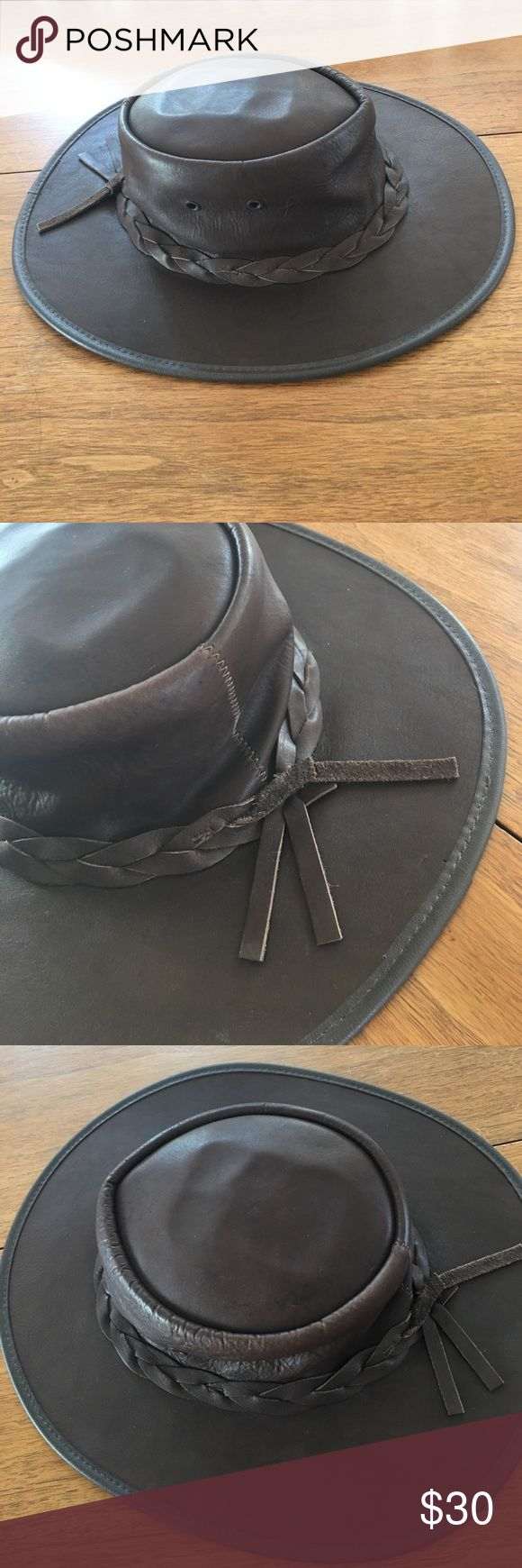 "Australian Hat by Barmah Hats This is a genuine Aussie Outback hat for sure, made in Australia!   It's ""fullgrain"" leather and waterproof.  It's in beautiful shape and a perfect addition to any hat lover's collection. Great braided detail and by crickey, this is an awesome deal! Barmah Hats Accessories Hats"