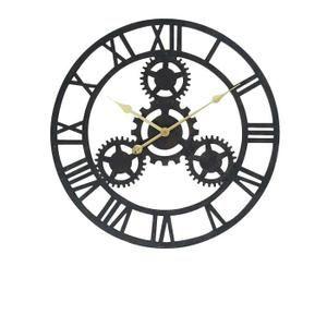 HORLOGE Horloge Rouage murale en MDF Ø 80 cm noir