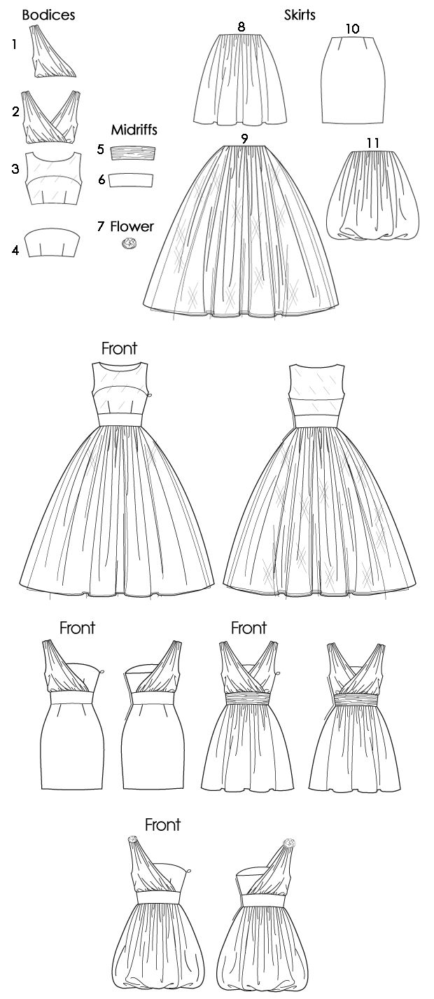 McCall: Strapless, Sheer Yoke, or One Shoulder Dress with Ballerina, Flared, Mini, or Bubble Skirt