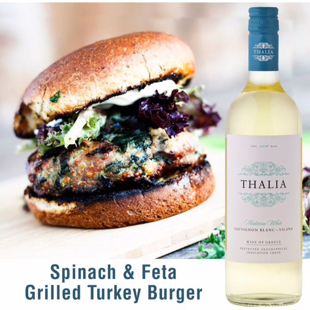 Excellent food and wine pairing. Spinach and Feta Turkey burger with Thalia Sauvignon Blanc / Vilana  http://bit.ly/1zklHL9
