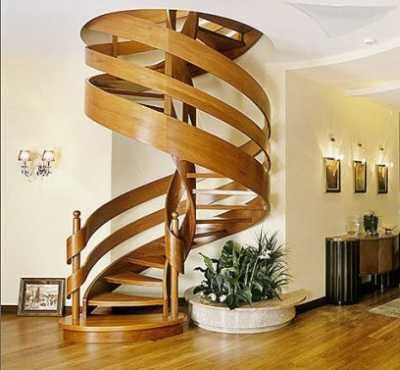 Amazing Spiral Staircases Design for Inside and Outside of Home : Wooden Spiral  Staircase With Ribbon Like