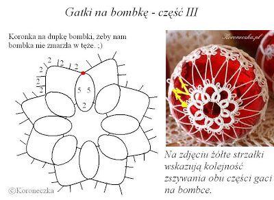 Chaplet - crafts: Frywolitkowe pants on a glass ball - pattern