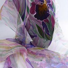 """Etole écharpe foulard en mousseline de soie peint main """" jardin au vent """""""