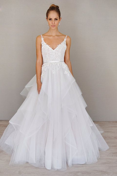 Style 9605 Ivory Cashmere Tulle And Lace Bridal Ball Gown With A Sheer V Neckline Low Ballerina Scoop Back Thin Satin Ribbon At The Natural Waist