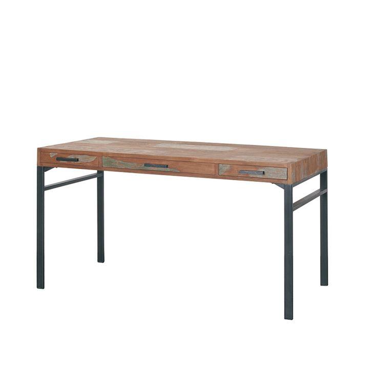Письменный стол из массива тика на металлических ногах с тремя функциональными ящиками.Оригинальная отделка.             Материал: Металл, Дерево.              Бренд: Teak House.              Стили: Лофт, Скандинавский и минимализм.              Цвета: Коричневый.