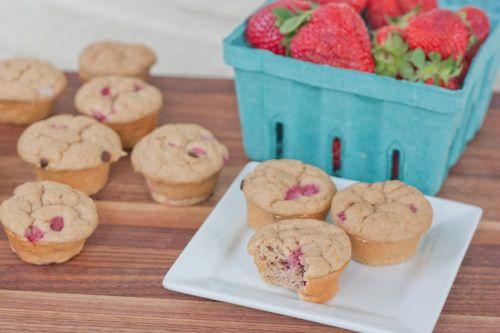 Strawberry Chocolate Chip Protein Muffins