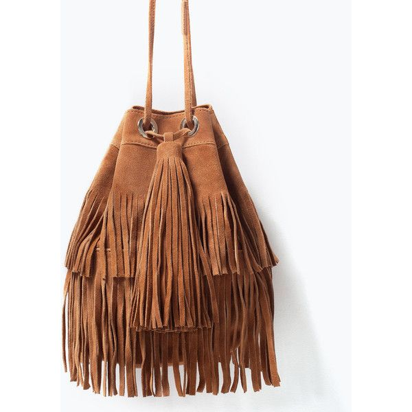Zara Fringed Suede Bucket Bag (€88) found on Polyvore