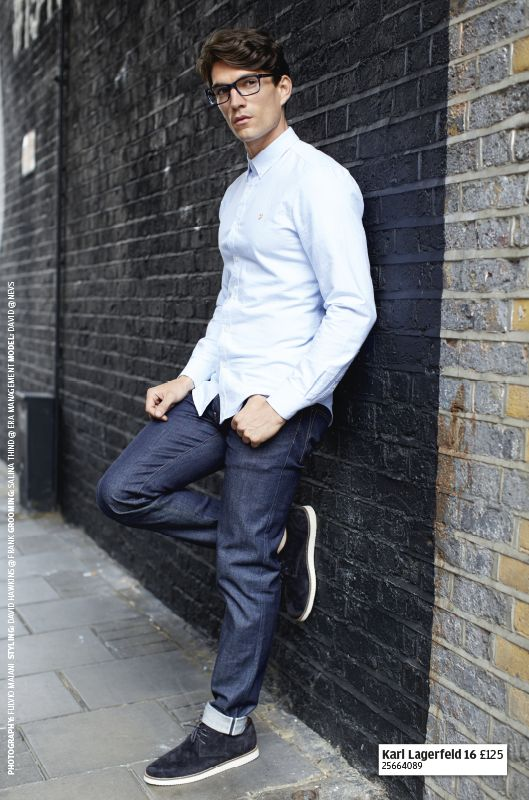 Classic blue jeans look great with matching specs, especially when they're by Karl Lagerfeld.