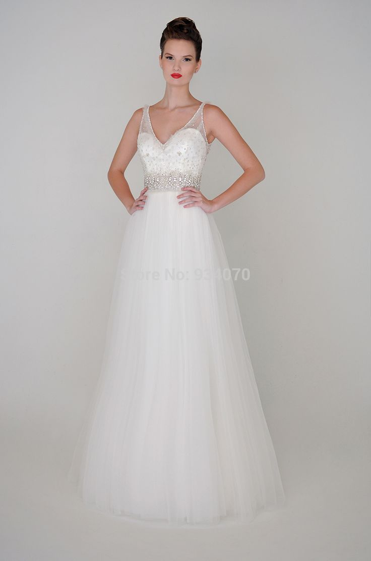Trendy Find More Wedding Dresses Information about Gorgeous Beach Summer V Neck Long White Crystals Wedding Dresses