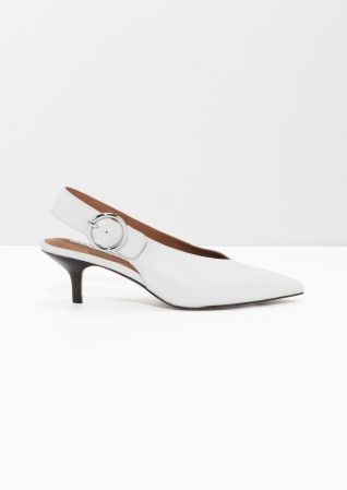 77a4a72de82 Pointed Slingback Kitten Heels - White -   Other Stories