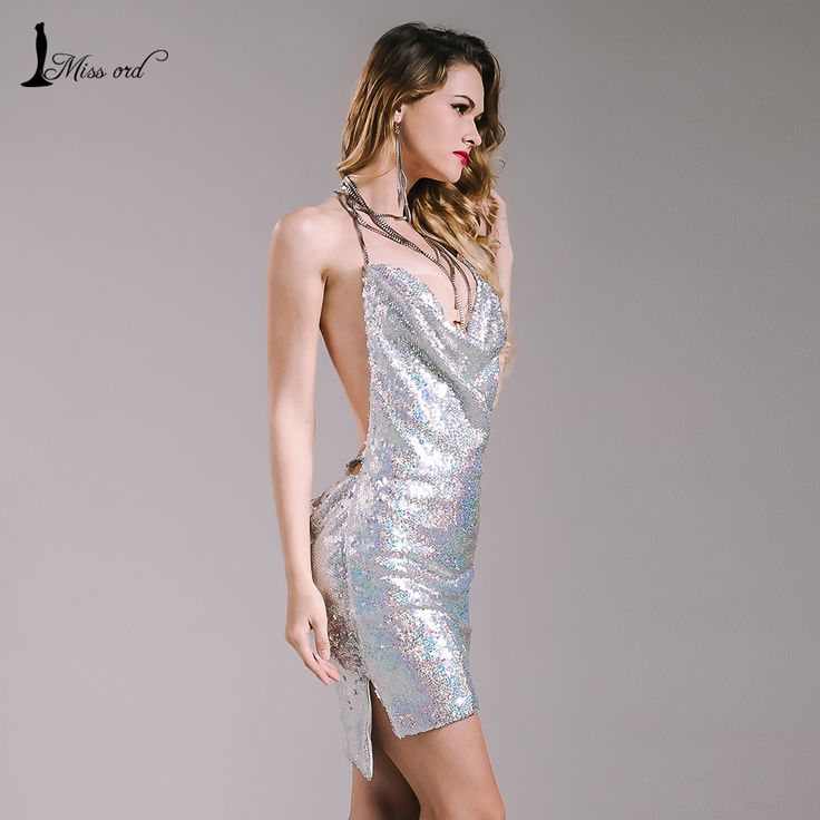 Missord 2016 Sexy sleeveless Deep-V halter split sequin dress backless metal Christmas party dress FT4928 | Diva's fashion store