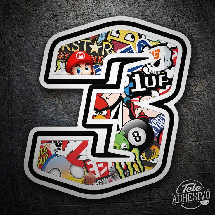 Pegatinas: Número 3 Speed Stickerbomb #pegatinas #numero #adhesivo #decoracion #moto #coche #TeleAdhesivo