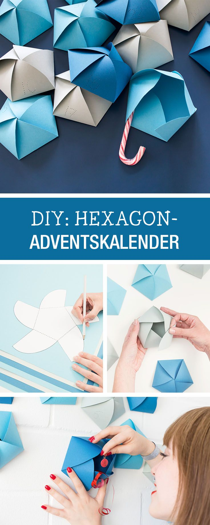 Minimalistischer Adventskalender aus Papier, Origami-Anleitung / minimalistic advents calendar made of paper via DaWanda.com
