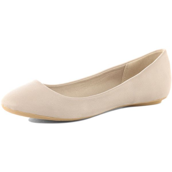 Cream ballet pumps ($20) ❤ liked on Polyvore featuring shoes, flats, zapatos, ballerinas, chaussures, shoes &amp boots, polyurethane shoes, flat pumps, ballerina shoes and skimmer flats