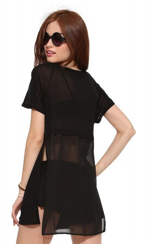Chiffon Short Sleeve Front Pocket T-shirt with Slits from KODY. Shop more products from KODY on Wanelo.