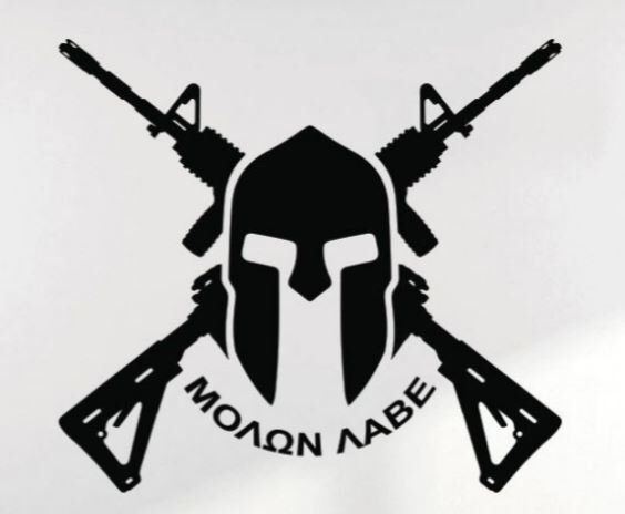 Molan Labe Spartan with Rifles Decal by ThirdCoastFlow on Etsy https://www.etsy.com/listing/460363500/molan-labe-spartan-with-rifles-decal