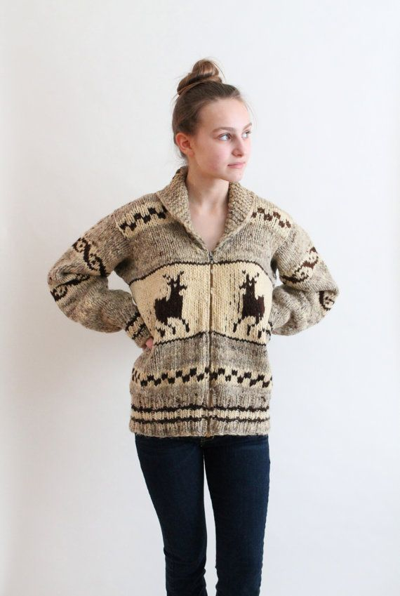 cowichan sweater wool cowichan sweater with deer by QuinceVintage, $110.00