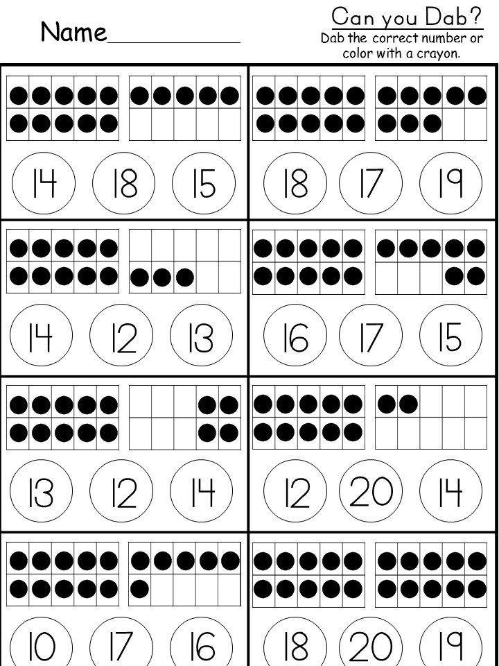 Free Tens and Ones Worksheet Kindergarten math
