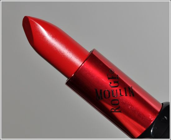 Doesn't smear or coat your wine glass!  Make Up For Ever #43 Moulin Rouge Rouge is a rich, bright orange-based creamy red with a satin smooth finish.