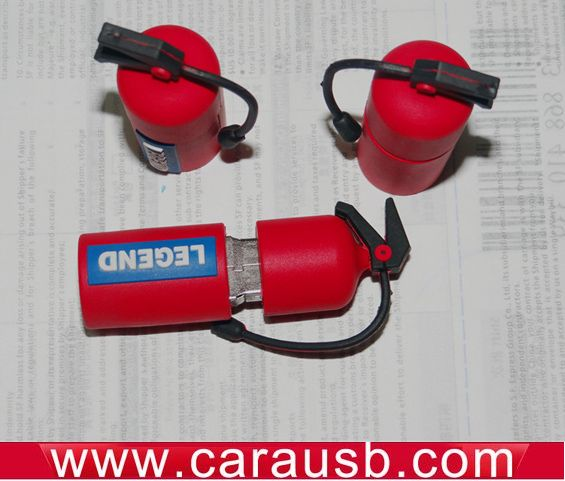 Red fire extinguisher flashdrives silicone custom fire equipment shape Usb disk fire extinguisher 8GB