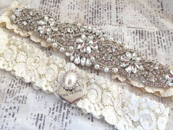 Crystal Garter Set Vintage Wedding By TheRaggedDiamond