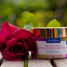 Roses & Honey Gentle Replenishing Polish 50gm tin.50gm jar Was $44 NOW $30. SPECIAL ON till 31/3 or WHILE STOCKS LAST!  With pomegranate seed, rose, grapefruit & very fine jojoba beads.  A nourishing and gentle exfoliating creamy cleanser, including plant base natural alpha hydroxy acids. regular use will help reveal the fresher looking skin beneath, improve circulation and promote health, luminous skin. suitable for all skin types