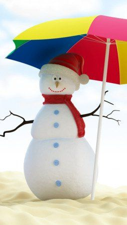 Download free Umbrella Summer Snowman Android Wallpaper Mobile Wallpaper contrib...