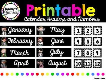 This free resource contains calendar headers and printable numbers. My classroom is black and white polka dot themed so these fit perfectly! All calendar months are included with 31 printable calendar numbers with black and white polka dotted frames.
