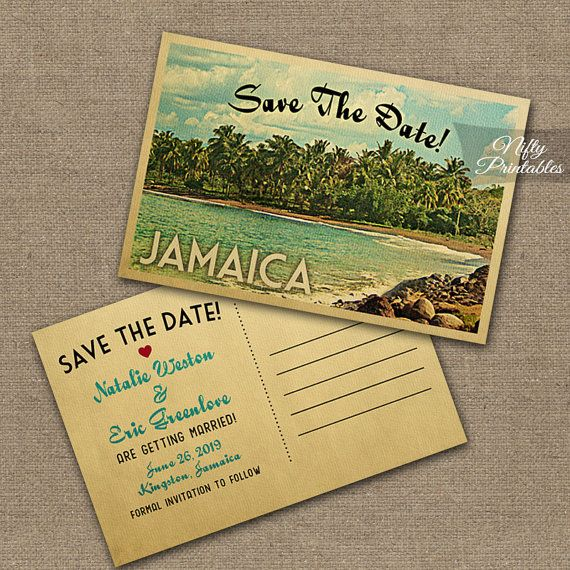 Jamaica Wedding Invitation Printable Vintage by NiftyPrintables