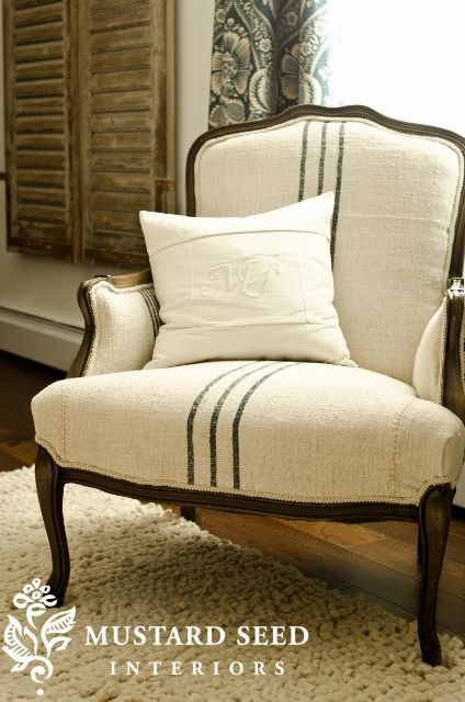 Grain Sack upholstered chair--I like the stripes, and it actually looks comfortable enough to curl up in.