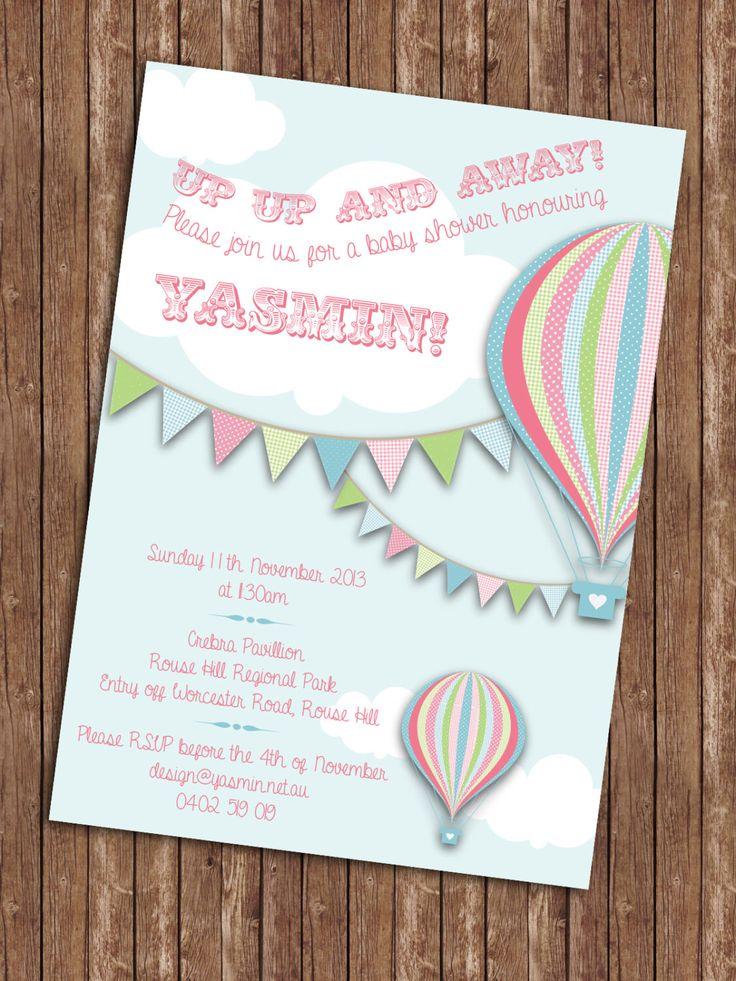 Hot Air Balloon Baby Shower Invitation by YasminHall on Etsy https://www.etsy.com/listing/179939415/hot-air-balloon-baby-shower-invitation