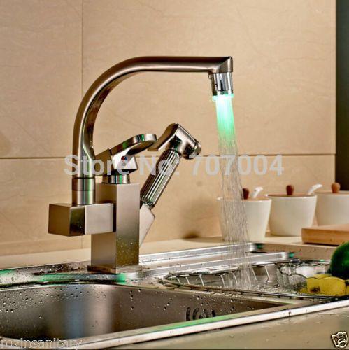 На бортике Матовый Никель Двойной Носик Кухонный Кран LED Pull Out Кухня Раковина Смесители