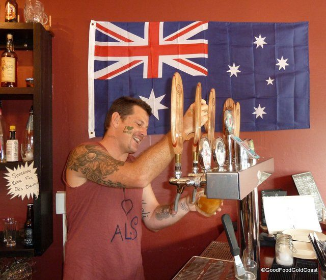 What's true Aussie Day fare? Pigs and pints. Burleigh Heads, Gold Coast
