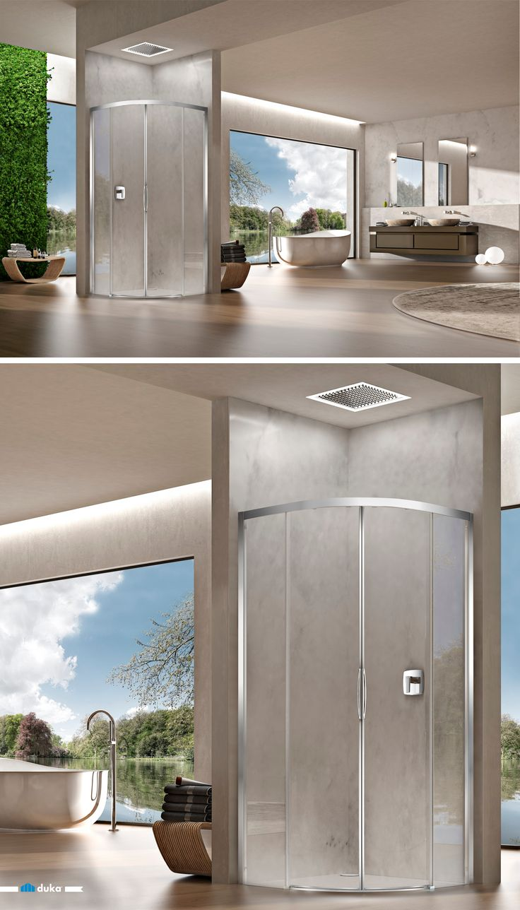natura 4000 • an open bathroom with a quadrant shower enclosure. Two contemporary sliding doors enable a secure and comfortable shower entrance in your bathroom. Beauty and innovation, all combined to one.
