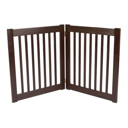 """Two Panel EZ Pet Gate - Small/Mahogany. Features:   27"""" Tall   Adjusts up to 36"""" Wide   Bar Spacing 1.75""""   All Wood Construction   Available in Black, Artisan Bronze and Mahogany    Built to span;small open areas.The Two Panel EZ Pet Gates modular gates bring all new functionality to pet gates. With this collapsible pet gate;you be able to;block off any room in the house in a snap! Double action hinges allow for multiple set-ups so you can even block;those tough hallway..."""