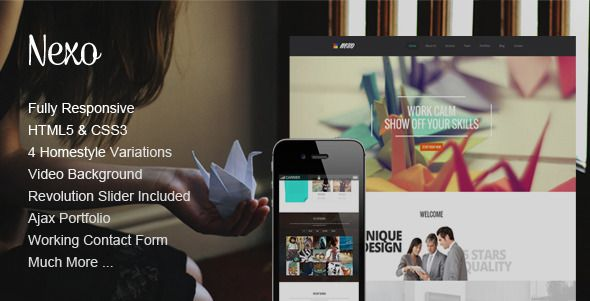 Nexo - One Page HTML Template   http://themeforest.net/item/nexo-one-page-html-template/8111622?ref=damiamio       Nexo is a clean and elegant onepage template that is perfect for agencies, studios or for promote your work.  It comes with 4 different styles of home variation including video background. It has a fully responsive structure built with Bootstrap and it is retina ready, so it looks stunning on all types of screens and devices.       Main Features     4 Home Layouts    Fully…