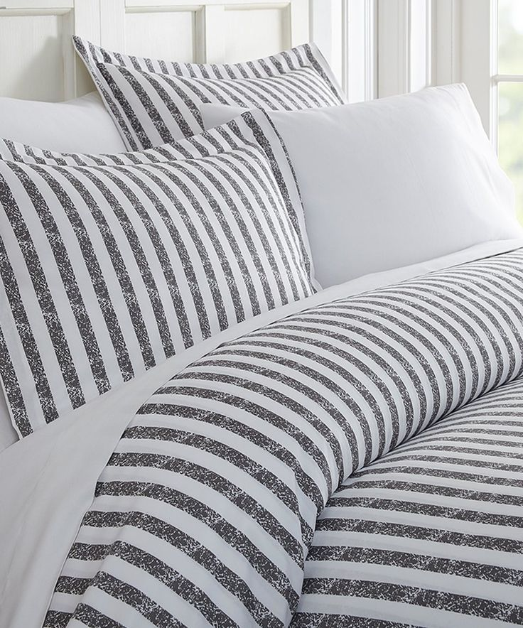 Take a look at this Gray Stripe Chevron Duvet Cover Set today!