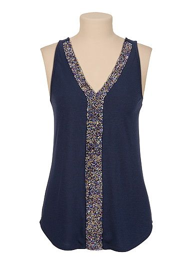 Bead Embellished V-neck tank (original price, $29) available at #Maurices
