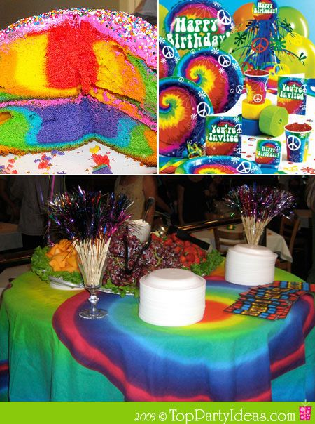 60s retro party ideas tie dye theme party hippie theme for Decoration retro cuisine