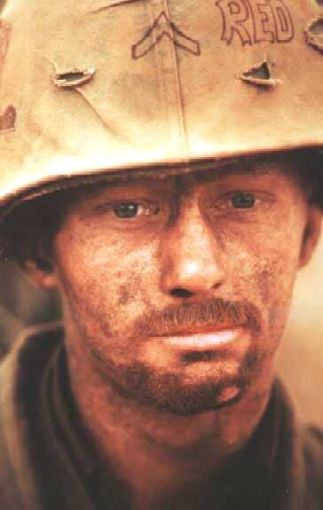 The thousand-yard stare, an infantryman who has seen more than his share of combat.