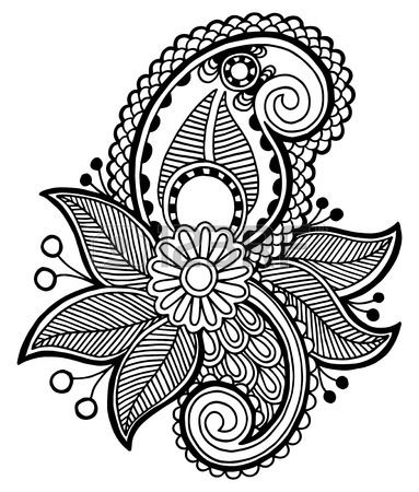 black line art ornate flower design ukrainian ethnic style autotrace of hand drawing Stock Vector