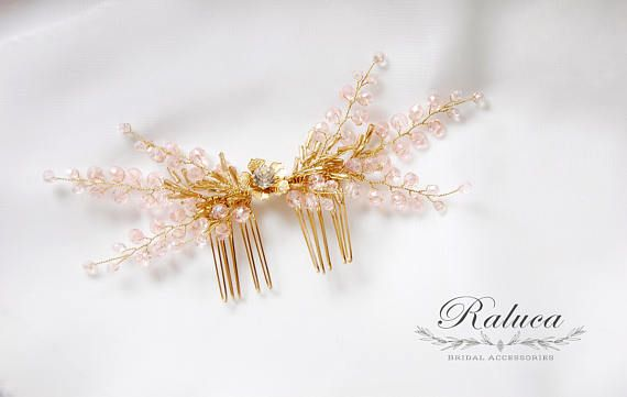 Hairpiece Bridal Comb Wedding Hair Accessory Pale Pink /