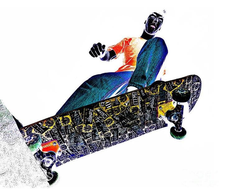 Dropping In by Meirion Matthias Drop, Skateboard, Fine