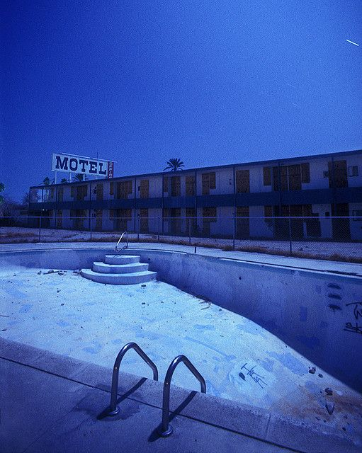 Once a place full of people laughing and playing, abandoned swimming pools have an eerie, haunted quality. // © Troy Paiva | North Shore Marina, the Salton Sea, CA