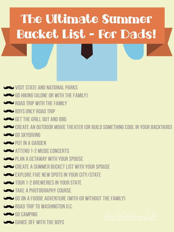 Dads, when's the last time you made a list of fun things to do over the summer? Use our printable to help you plan the ultimate summer bucket list for dads!